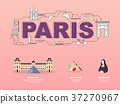 Attractive landmark icons for traveling in Paris. 37270967