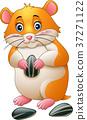 Cute hamster holding sunflower seeds 37271122