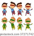 Set of kids wearing superheroes costumes 37271742