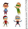 Cute four kids wearing superhero costumes 37271749
