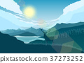 Mountains landscape with deer on the hills 37273252