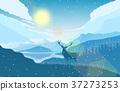 mountain landscape deer 37273253