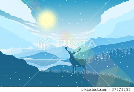 Winter mountains landscape with deer on the hills 37273253