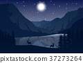 Night Mountains landscape with two deer 37273264