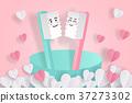 cartoon toothbrush kiss toghter 37273302