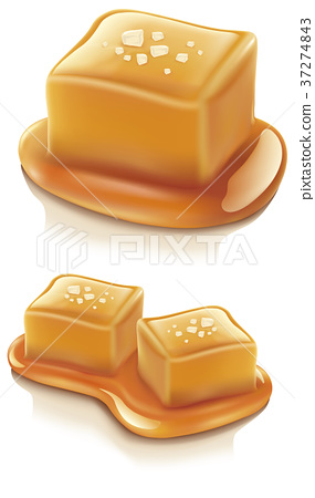 salted caramel candy isolated on white 37274843