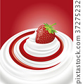 milk cream yogurt with fresh strawberry 37275232