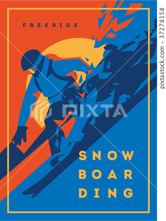 Freeride snowboarder in motion. Sport poster or 37278158