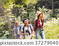 Teenagers with backpacks hiking in forest. Summer 37279040