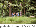 Teenagers with backpacks hiking in forest. Summer 37279151