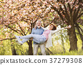 Senior couple in love outside in spring nature. 37279308