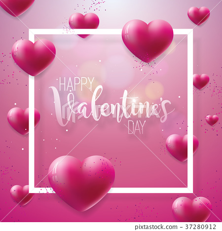 Happy Valentines Day Illustration with Red Hearth 37280912