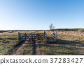 Old gate into a great plain landscape 37283427