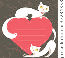 Couple of white cats and red  heart 37284358