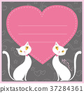 Couple of white cats and red  heart 37284361