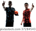 soccer players men isolated silhouette white 37284543