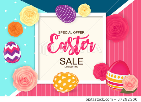 Easter Sale Cute Background with Flowers and Eggs 37292500