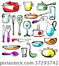 Set of hand drawn cookware. Vector illustration 37293742