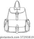 Sketch of a rucksack. Backpack 37293819