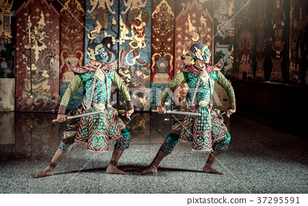 Thailand. Khon performance art of Ramayana story 37295591