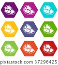 Steak icon set color hexahedron 37296425