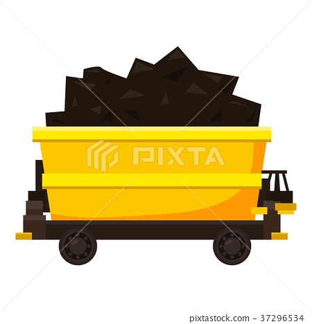 Coal trolley icon, cartoon style 37296534