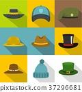 Hat style icon set, flat style 37296681