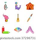 Circus actor icons set, cartoon style 37296731