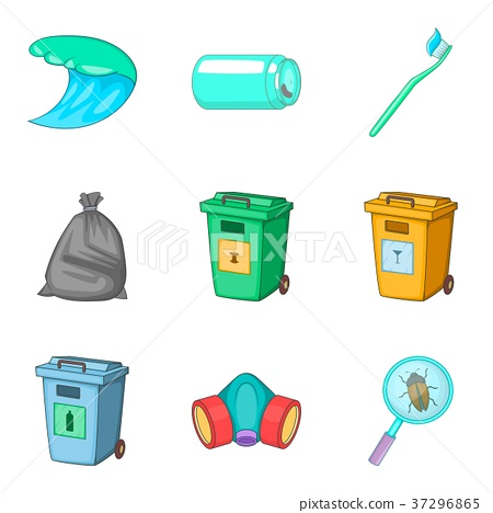 Garbage type icon set, cartoon style 37296865