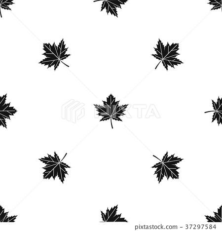 Maple leaf pattern seamless black 37297584