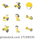 Segway, monowheel, hoverboard icons set, 37298595