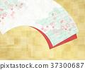 조화를 느끼는 배경 소재 (부채, 벚꽃, 금박) 37300687