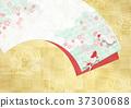 조화를 느끼는 배경 소재 (부채, 벚꽃, 금박, 금붕어) 37300688