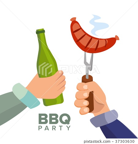 Barbecue Party Concept Vector. Cooked Hot Sausage 37303630