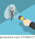 Isometric hand pointing flashlight at businessman. 37306317