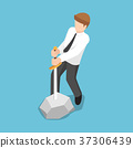 Businessman trying to pull sword from stone. 37306439