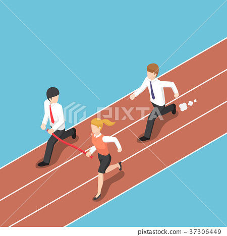 Rival hold finish line away from businessman. 37306449