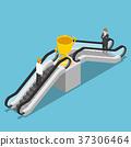 Businessman use an escalator to reach trophy. 37306464