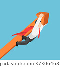 Super businessman carrying business graph up 37306468