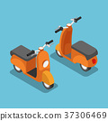Isometric orange scooter or motorcycle. 37306469