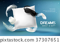 Vector 3d realistic white pillow illustration 37307651