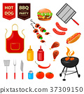 Summer barbecue party. Set 37309150