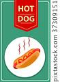 Tasty Hot-Dog. BBQ party Vector illustration 37309151