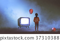 girl looking at red balloon coming out of TV 37310388