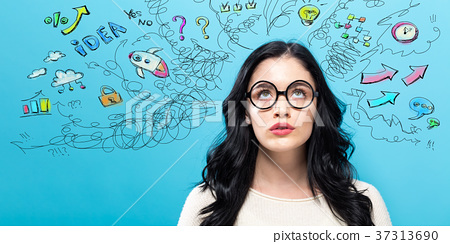 Young woman with many thoughts 37313690