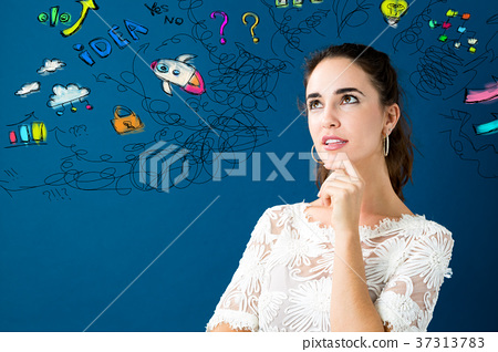 Young woman with many thoughts 37313783