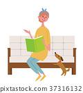 여성, 독서, 소파 37316132