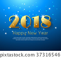 Design happy new year 2018  greeting card.  37316546