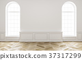 Classic white empty interior with wood floor and 37317299