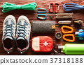 Travel items for hiking flat lay 37318188